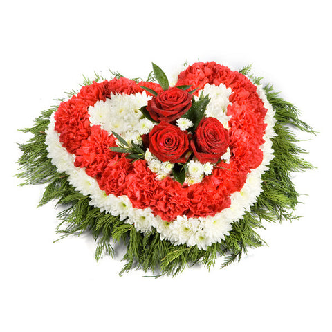 Heart Wreath Red And White