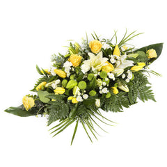 Funeral spray Yellow And White