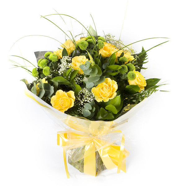 Yellow Rose Handtied Bouquet - Flowers Galway | College Road Florists