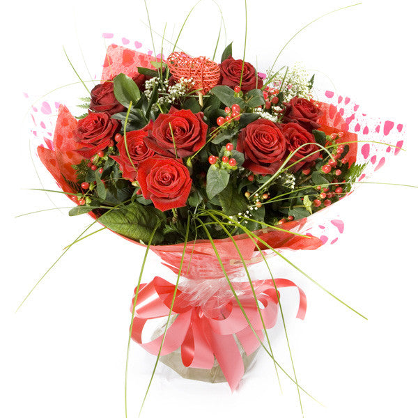 Handtied 12 Red Roses Bouquet Flowers Galway College Road Florists