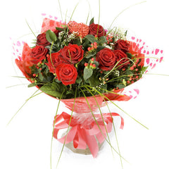 Handtied 12 Red Roses Bouquet