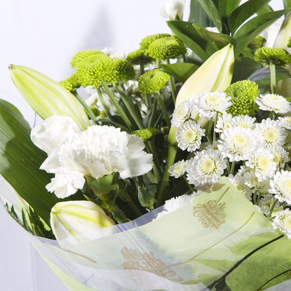 Mixed Hand Tied Bouquet White And Green - Flowers Galway | College ...