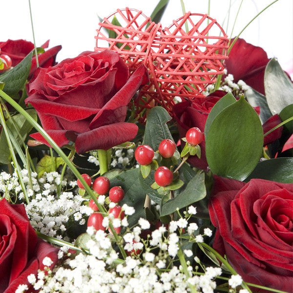 Handtied 12 Red Roses Bouquet -Flowers Galway | College Road Florists