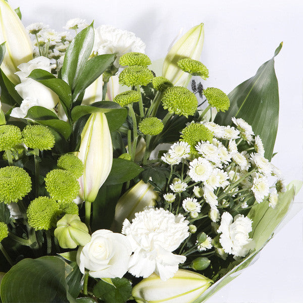 Mixed hand tied bouquet white and green flowers galway college mixed hand tied bouquet white and green mightylinksfo Images
