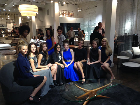 Maria Pinto and models at the opening reception for the M2057 pop-up shop at Haute Living