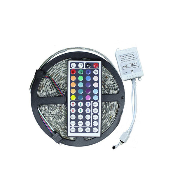 5M RGB LED Strip SMD 5050 With 24/44Key IR Remote Controller - SupplyLedStrip