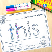 Kindergarten Sight Word Worksheets for Stamp Markers