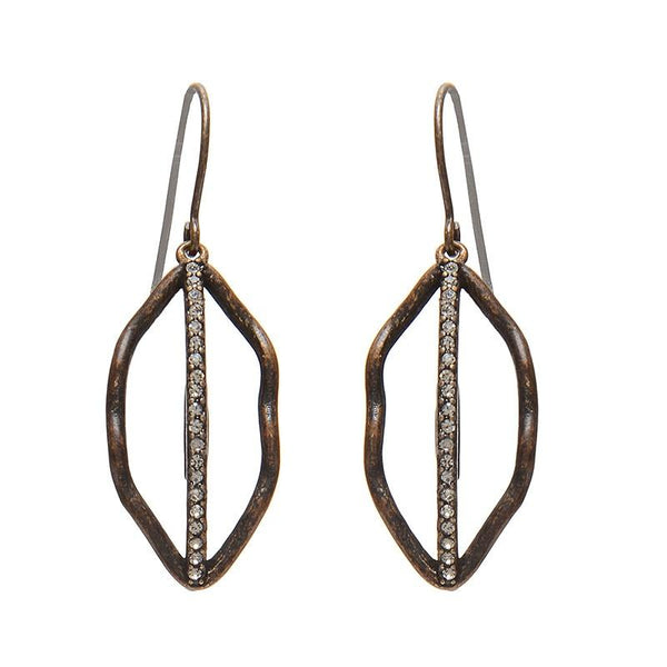 BLACK DIAMOND CRYSTAL LEAF EARRINGS