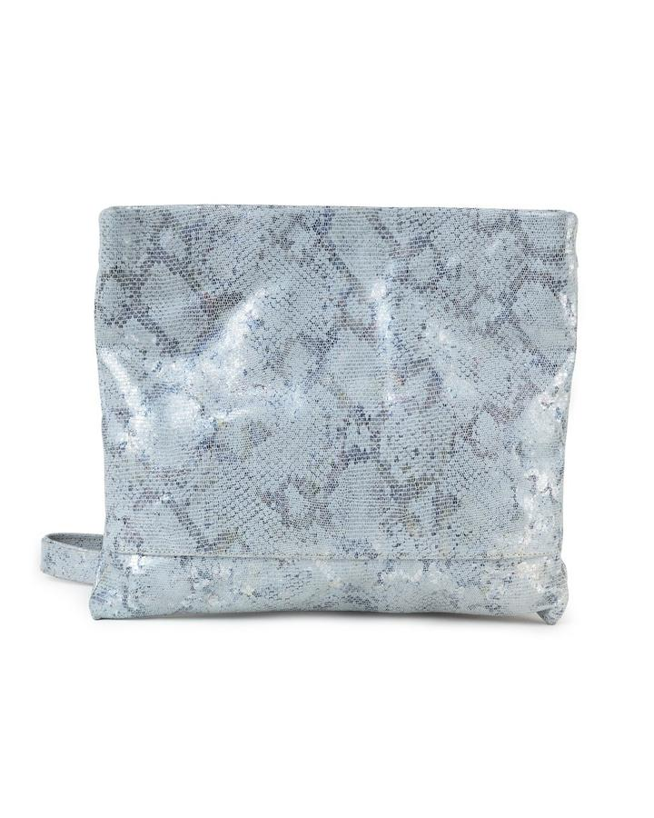 MOLLIE CLUTCH CROSSBODY BAG - WHITE METALLIC