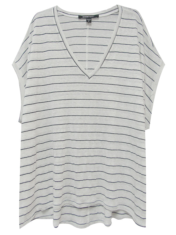 RAW HEM V-NECK TOP