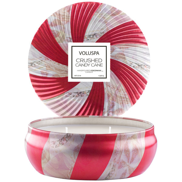 3 WICK CRUSHED CANDY CANE CANDLE