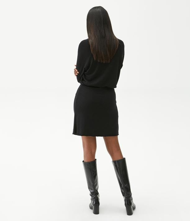 RUCHED WRAP DRESS - BLACK