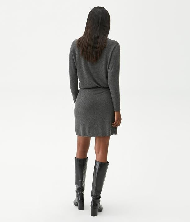 RUCHED WRAP DRESS - CHARCOAL