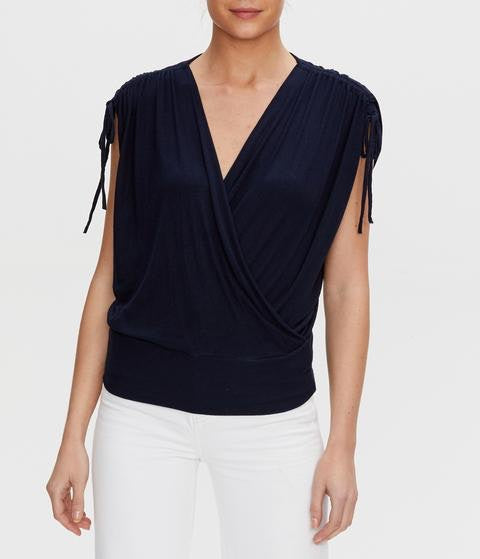 CADENCE RUCHED SLEEVE FAUX WRAP TOP