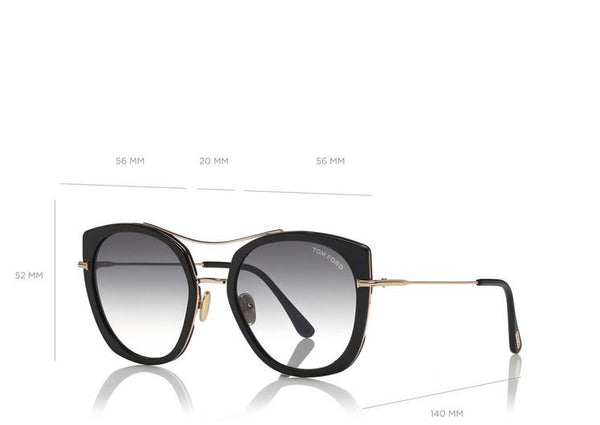Tom Ford - JOEY - SHINY BLACK ACETATE ROSE GOLD / GRADIENT SMOKE