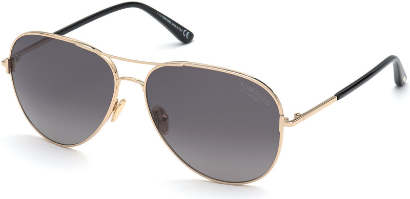 TOM FORD CLARK - SHINY ROSE GOLD/BLACK POLARIZED