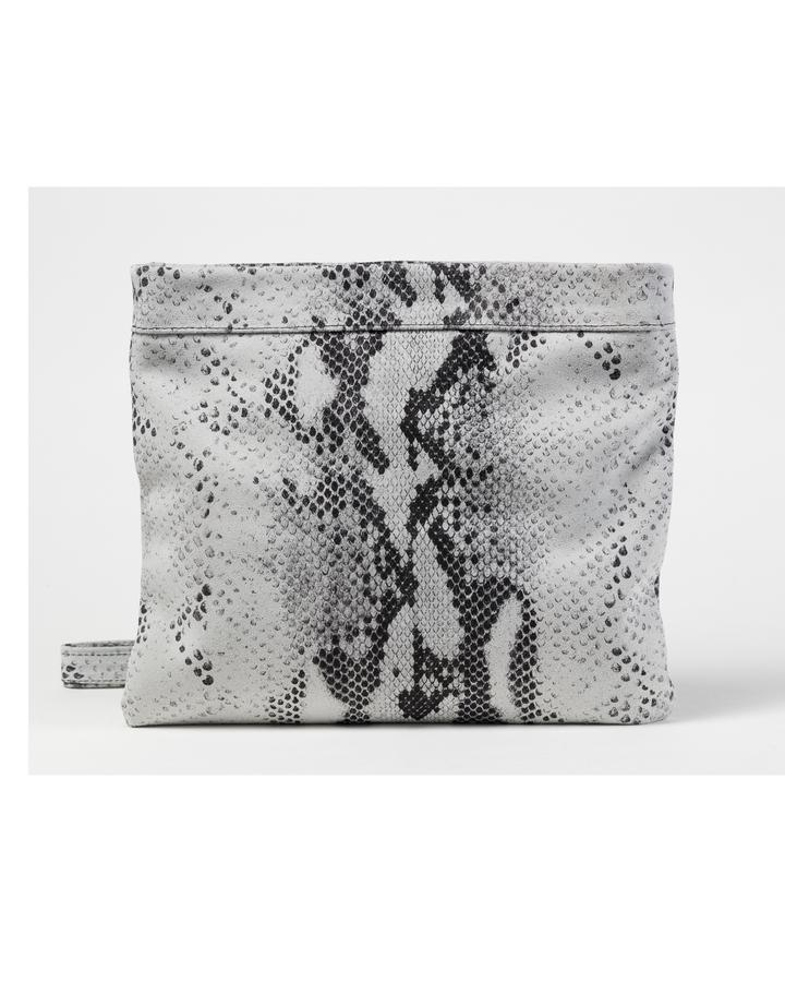 MOLLIE CLUTCH CROSSBODY BAG - WHITE SNAKE