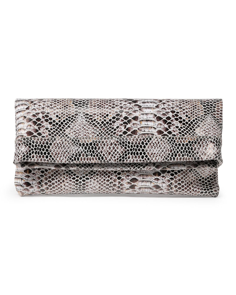 MOLLIE CLUTCH CROSSBODY BAG - CHOCOLATE SNAKE