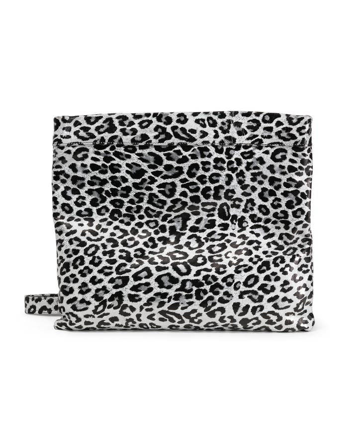 MOLLIE CLUTCH CROSSBODY BAG - BLACK SILVER LEOPARD