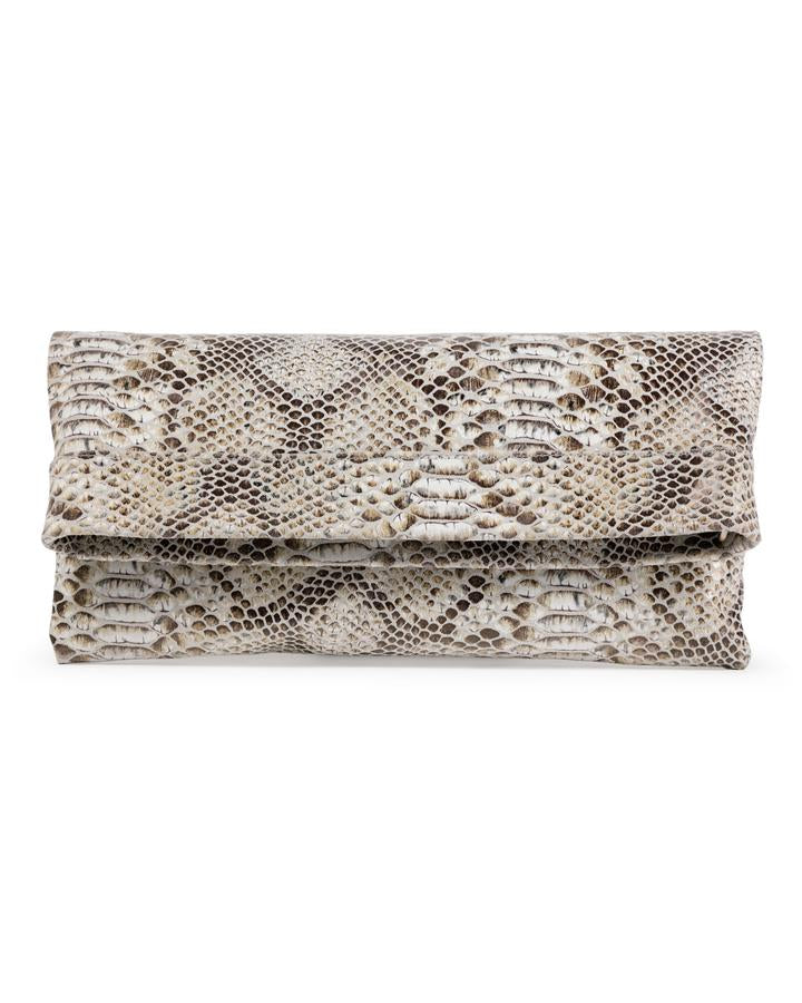 MOLLIE CLUTCH CROSSBODY BAG - CAMEL SNAKE