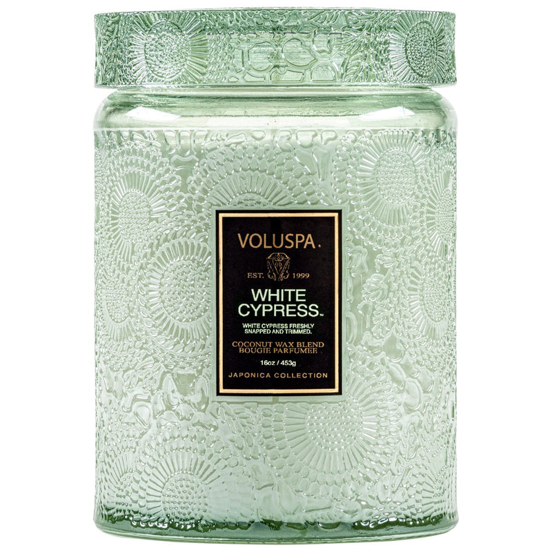 WHITE CYPRESS LARGE JAR CANDLE