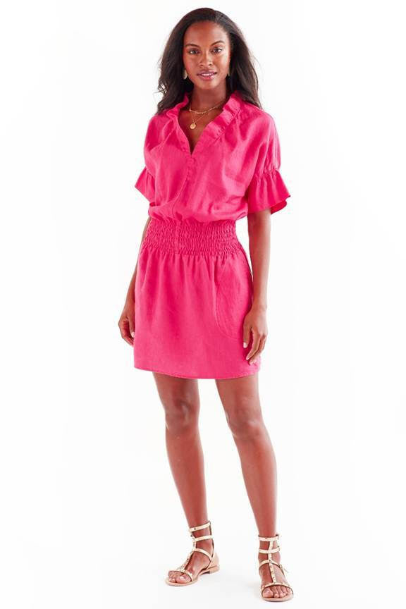 SMOCKED CROSBY DRESS FUSCHIA LINEN