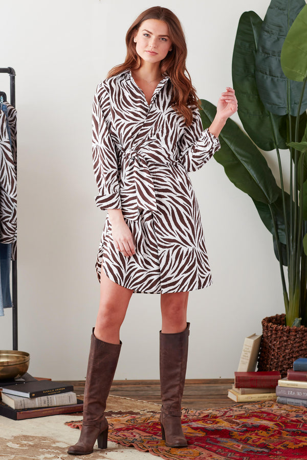 RALEIGH ZEBRA PRINT SIDE TIE DRESS