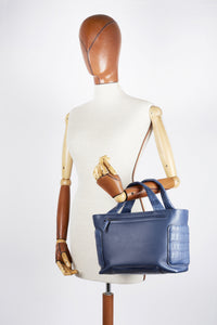 KAYLA CUBE - Prussian Blue calfskin and Blue Alligator crocodile leather with matte finish