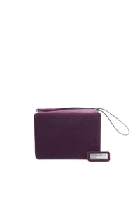 LISA minaudière GM - Plum calfskin and velvet with smooth almond green lambskin interior