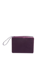 Load image into Gallery viewer, LISA minaudière GM - Plum calfskin and velvet with smooth almond green lambskin interior