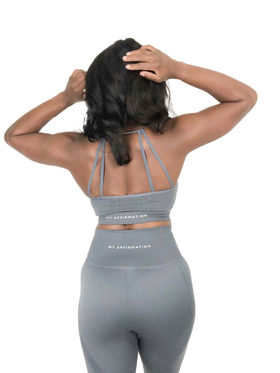 Gray Sports Bra - My Affirmation