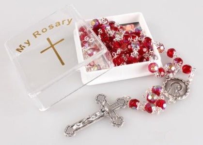 Rosary Ruby Glass Capped Beads