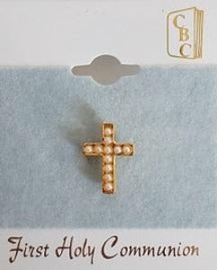 Lapel Pin Cross with little pearls