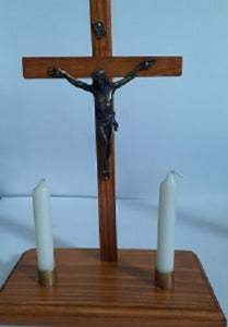 Standing Crucifix with Two Candles