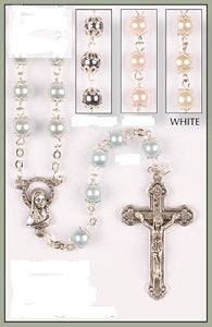 Rosary Glass Imitation Pearl Capped Beads