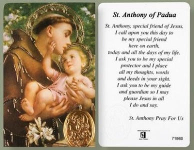 St Anthony Prayer Card