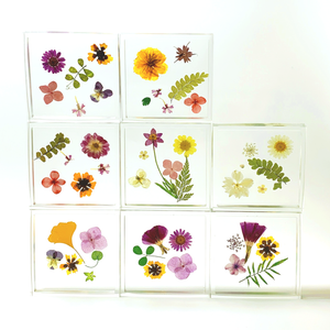 square floral coaster in marigold