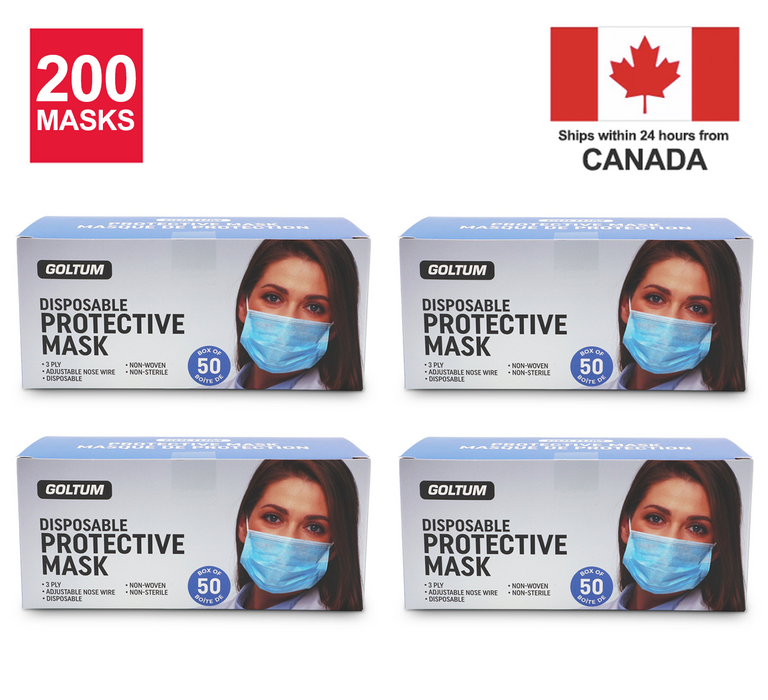 200 Masks - Goltum Disposable 3-ply Face Mask ASTM Level 1 (50 Masks per box) | *Ships Within 24 Hours From Canada