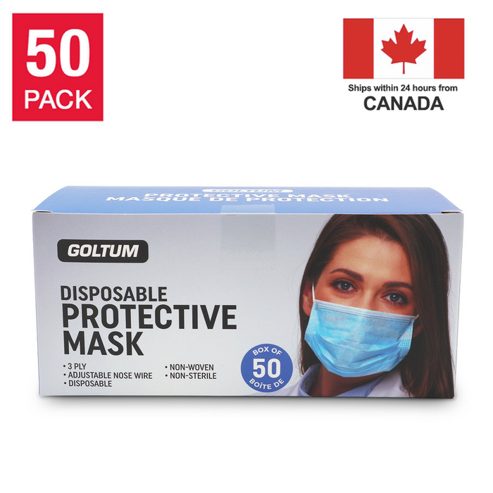 Goltum Disposable 3-ply Face Mask ASTM Level 1 (50 Masks) | *Shipping Within 24 Hours From Canada