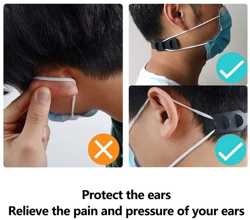 FREE SAMPLE: Goltum Black Silicone Adjustable Ear Savers (1 Ear Saver) | Face Mask Strap Extender | *Shipping Within 24 Hours  From Canada - Goltum.com
