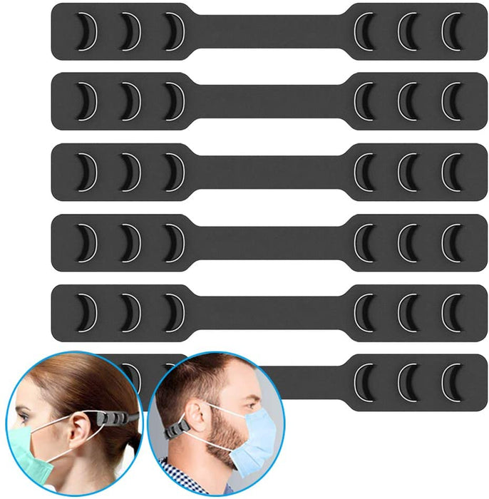 Goltum Black Silicone Adjustable Ear Savers (6 Ear Savers) | Face Mask Strap Extender | *Shipping Within 24 Hours  From Canada - Goltum.com