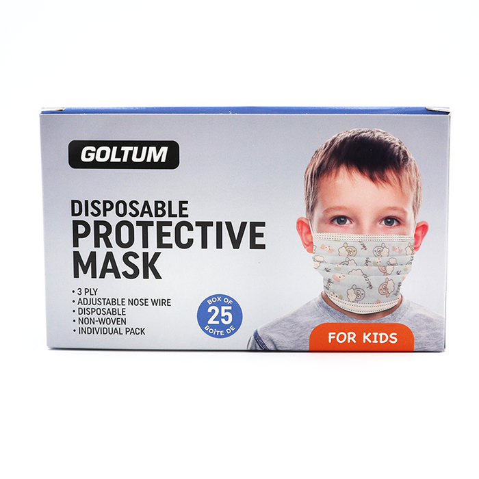 100 Masks - Goltum Kids Disposable Face Mask 3-ply (25 Masks) | Ships Within 24 Hours From Canada
