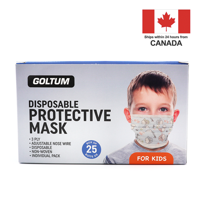 Goltum Kids Disposable 3-ply Face Mask ASTM Level 1 (25 Masks) | Ships Within 24 Hours From Canada