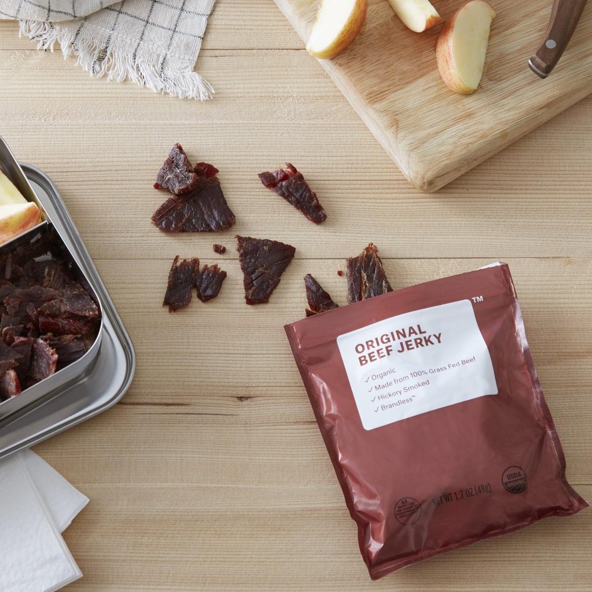 Jerky package on a kitchen table