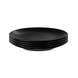 Black Stoneware Rim Dinner Plates - Set of 4