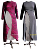 Wool jersey Intergalactic Dusters over full length vertically striped skirt