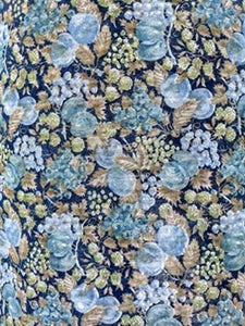 Blue & Green Sheer Fruit and Vine Print
