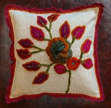 "Load image into Gallery viewer, 16"" One-of-a-Kind Handmade Pillow with floral appliques and embroidery with removable cover."
