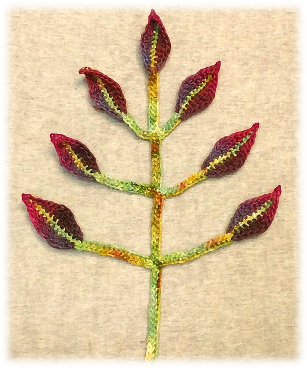 Symmetrical Stem & Leaf Crochet Applique Pattern