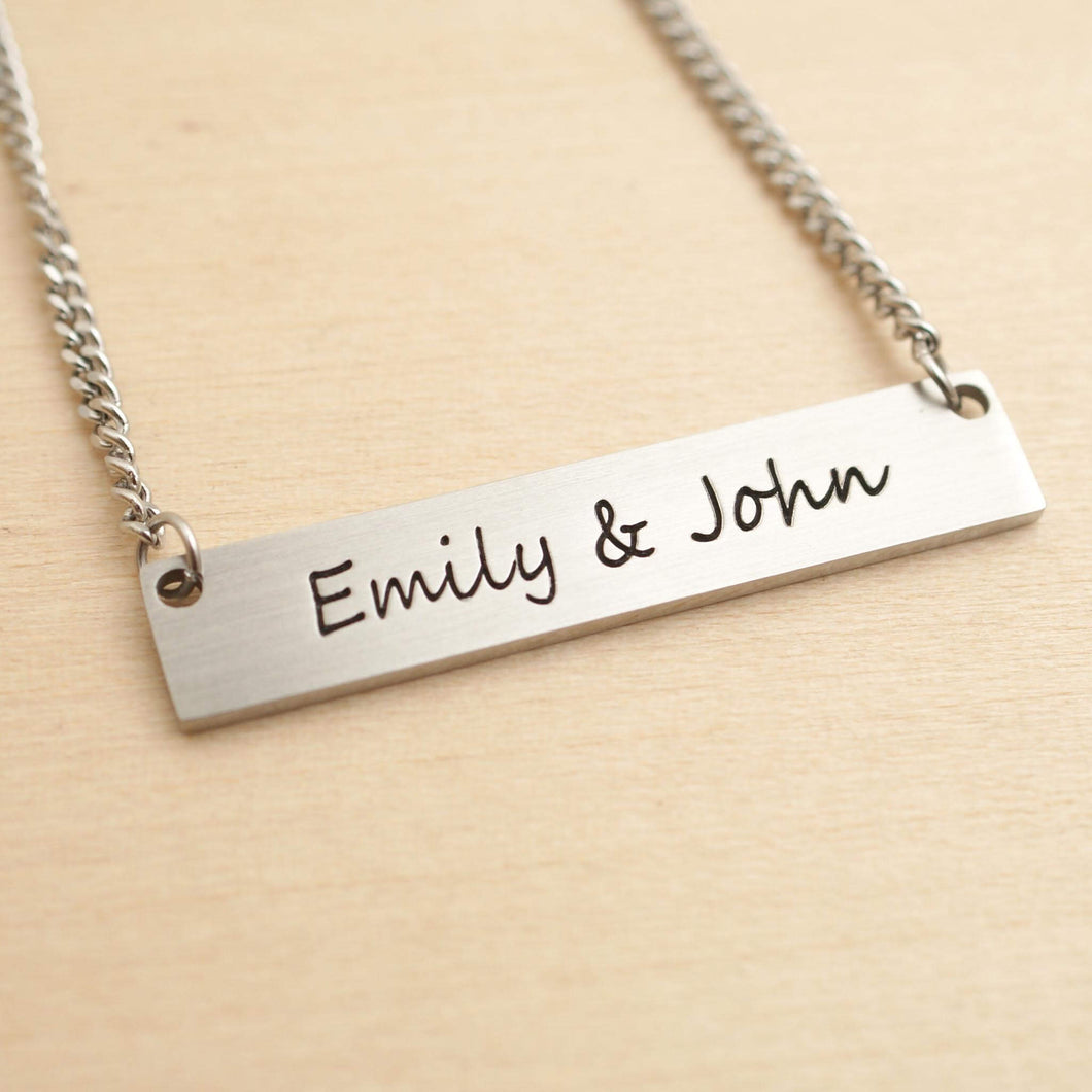 Bar necklace - with deep engraving